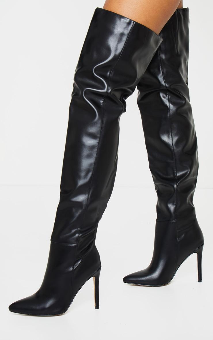 Black Thigh High Stiletto Boots 1
