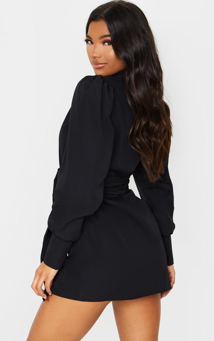 Black Puff Shoulder Long Sleeve Belt Detail Shirt Dress 2