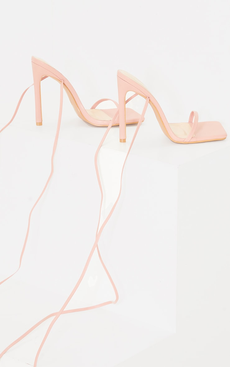 Baby Pink PU Square Toe Barely There Lace Up High Heeled Sandals 3
