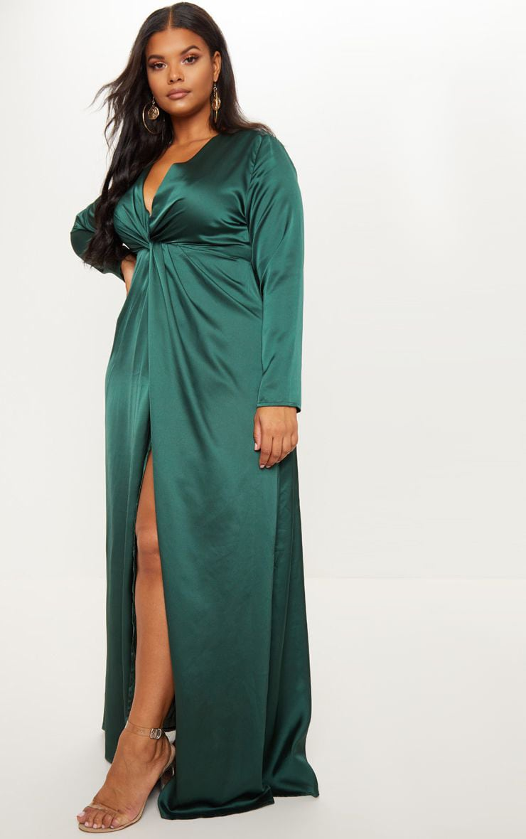 Plus Emerald Green Twist Front Maxi Dress 1