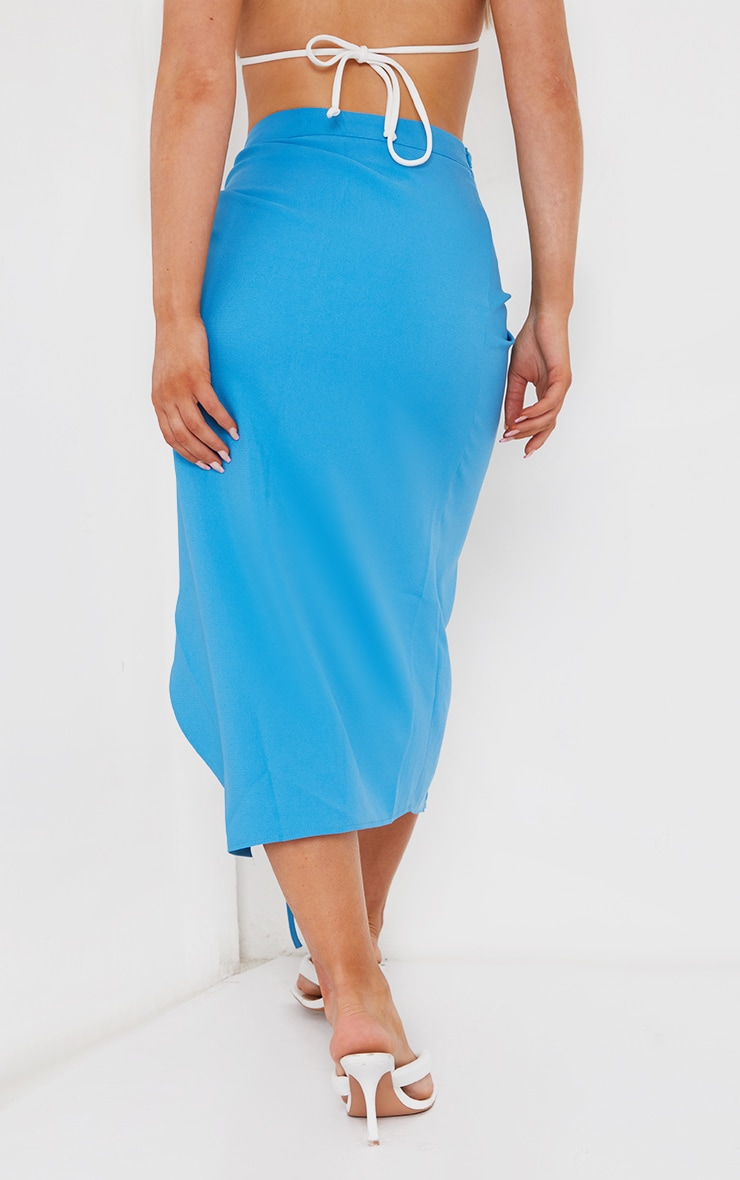 Blue Ruched Woven Detail Midi Skirt 3
