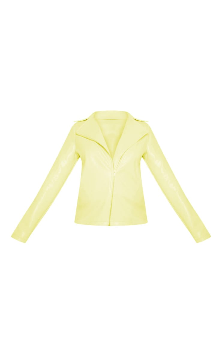 Neon Yellow Snake PU Biker Jacket  3