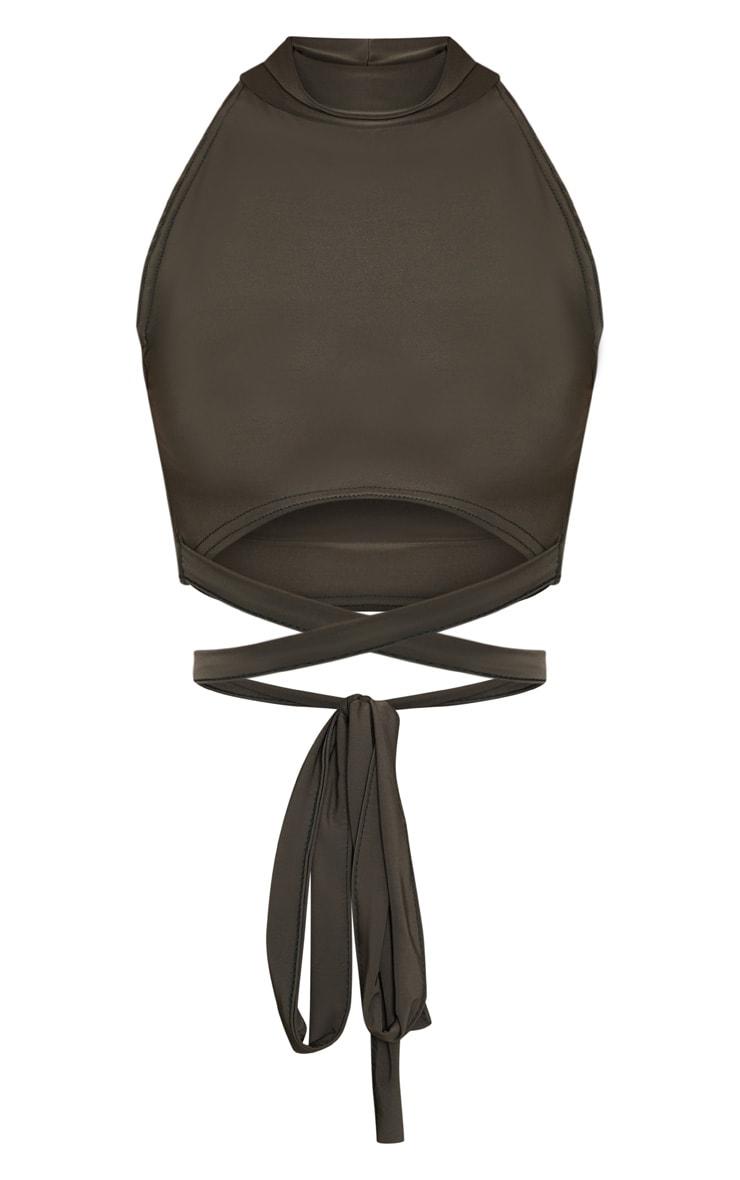 Shape Khaki Slinky High Neck Tie Waist Crop Top 2