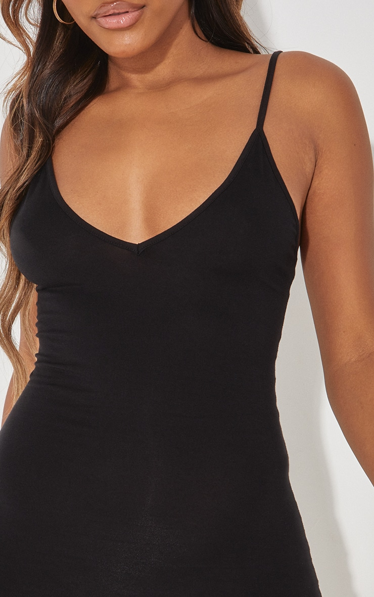 Basic Black Extreme Plunge Strappy Bodycon Dress 5