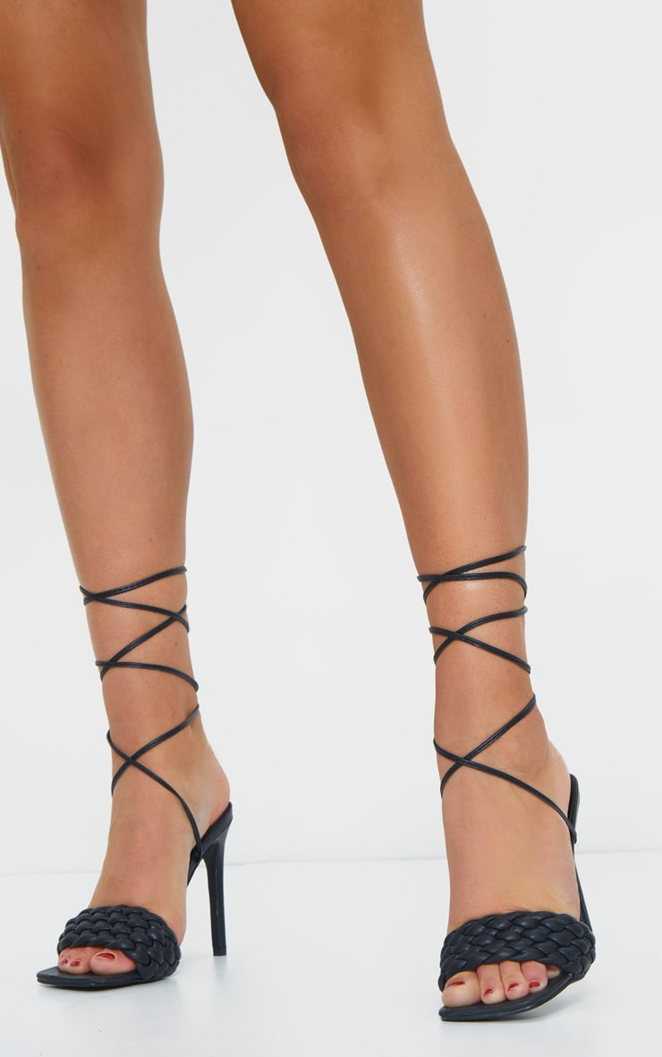 Black PU Square Toe Quilted Lace Up Heeled Sandals 2