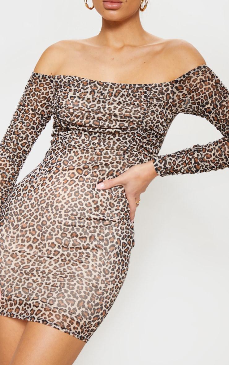 Brown Leopard Print Ruched Mesh Bardot Bodycon Dress 5