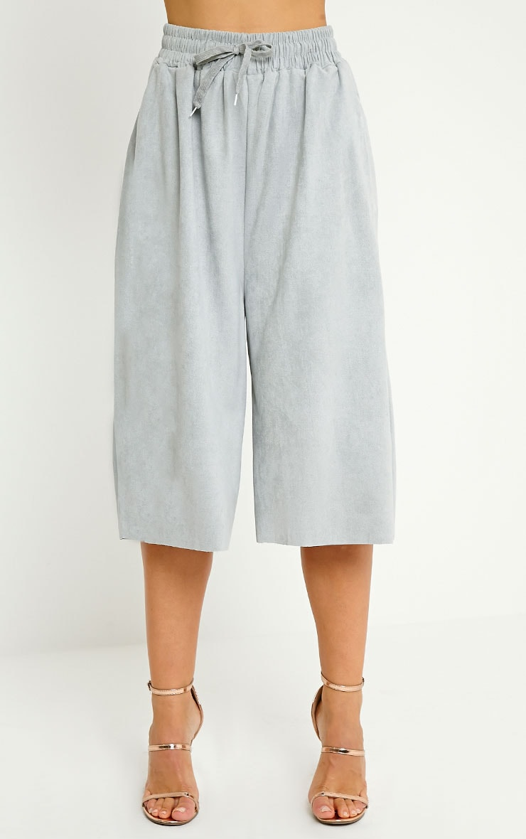 Eugenie Grey Faux Suede Culottes 2