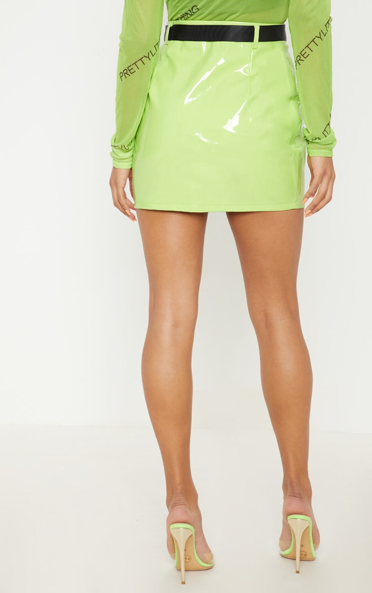 Neon Lime Vinyl Zip Front Belted Mini Skirt 4