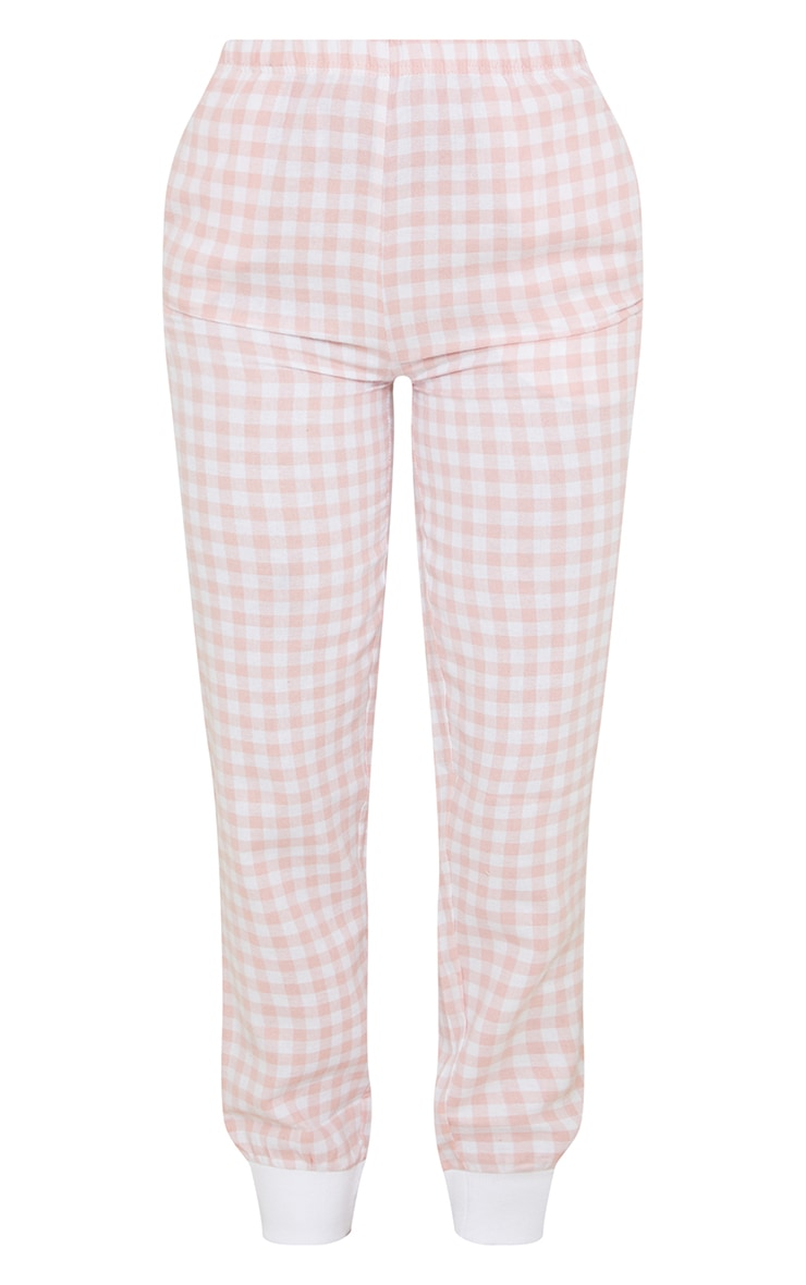 Pale Mix And Match Pink Check Cuffed PJ Track Pants 5