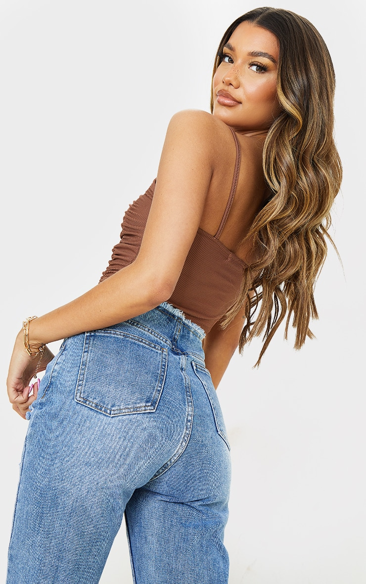 Chocolate Rib Extreme Ruched Crop Top 2