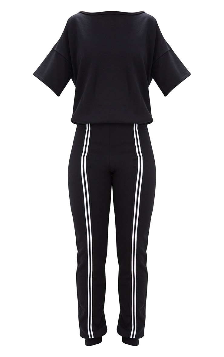 Black Loop Back Sports Stripe Jumpsuit 3