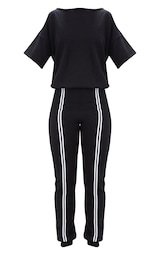 9c168eacfad Black Loop Back Sports Stripe Jumpsuit image 3