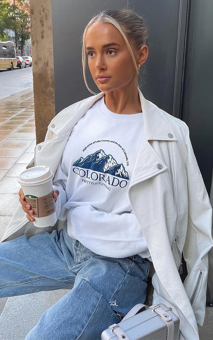 White Colorado Print Oversized Sweatshirt 1