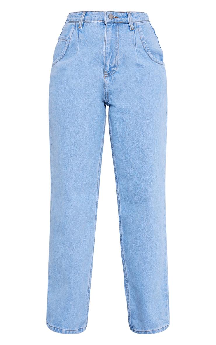 Petite Light Wash Wide Leg Seam Detail Jeans 5