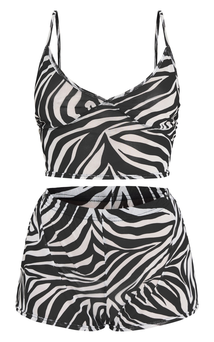 Zebra Mesh V Neck Cami and Short PJ Set 5