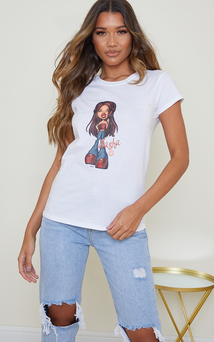 White Sasha Bratz Fitted T Shirt 1