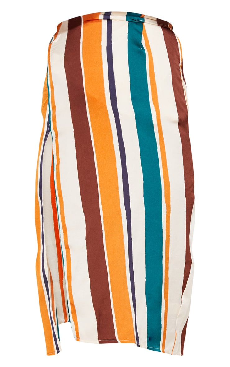 Orange Satin Stripe Midi Skirt 3