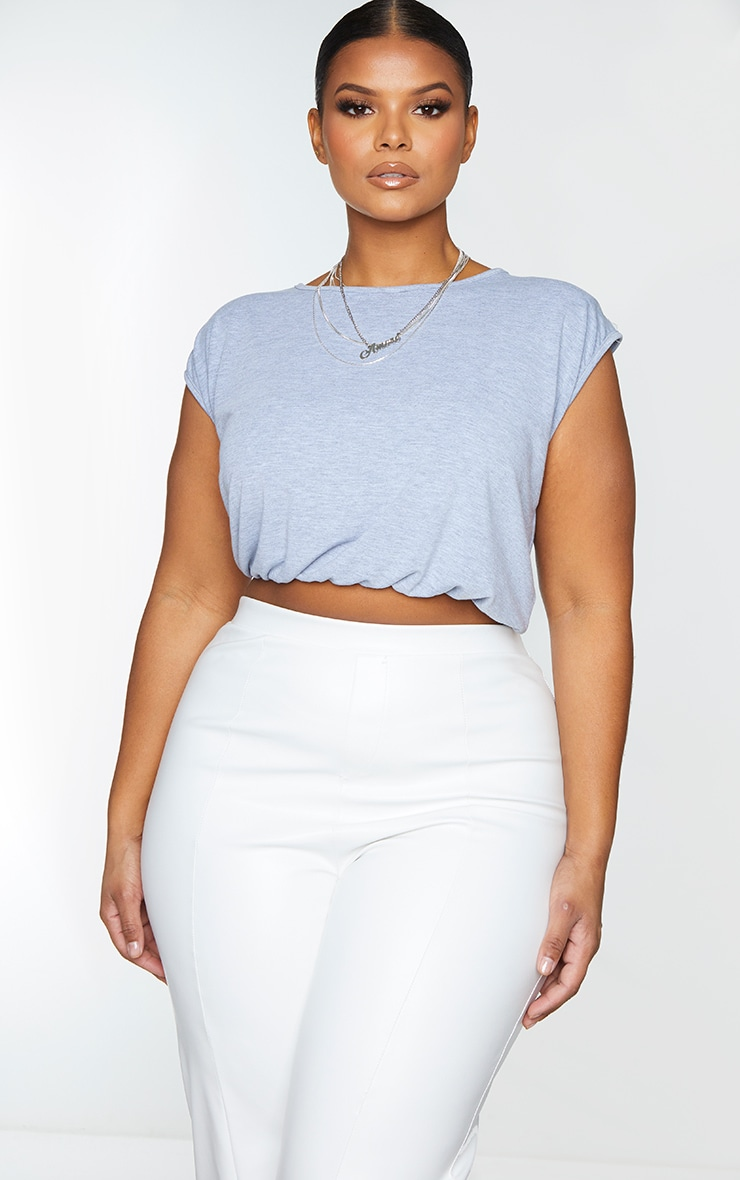 Plus Grey Jersey Shoulder Pad Crop Top 3