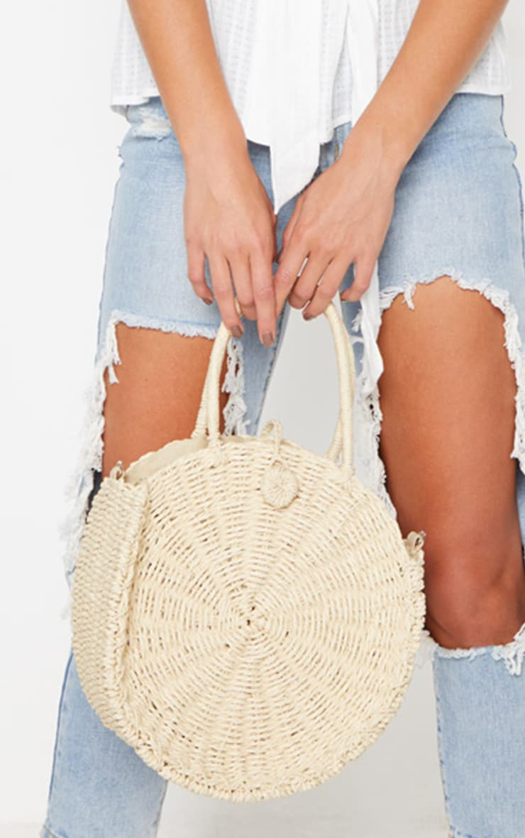 Cream Round Straw Handle Bag 4