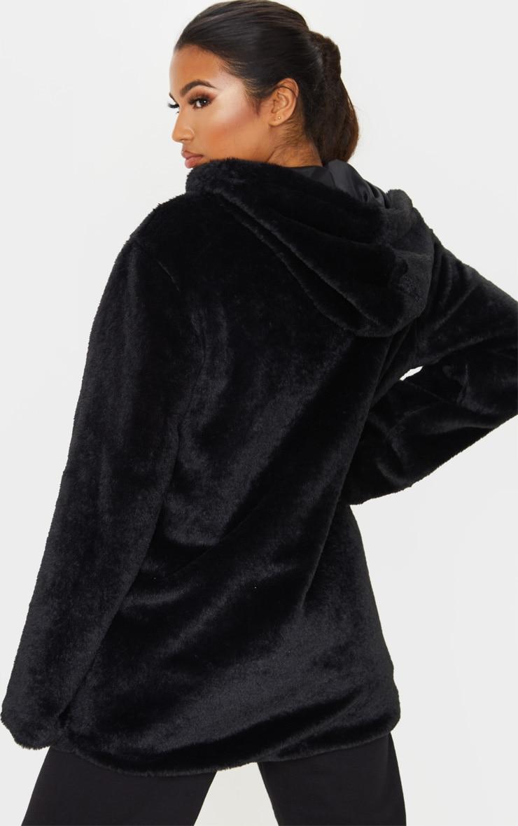 Black Hooded Faux Fur Midi Coat 2