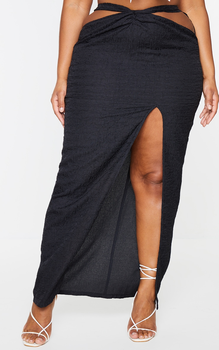 Plus Black Cut Out Textured Knot Front Midaxi Skirt 2