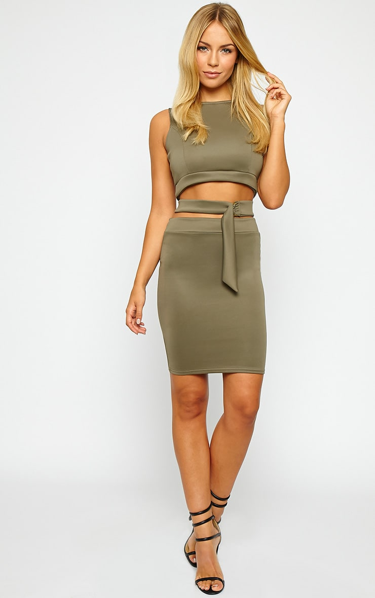 Belle Khaki Belted Mini Dress 3