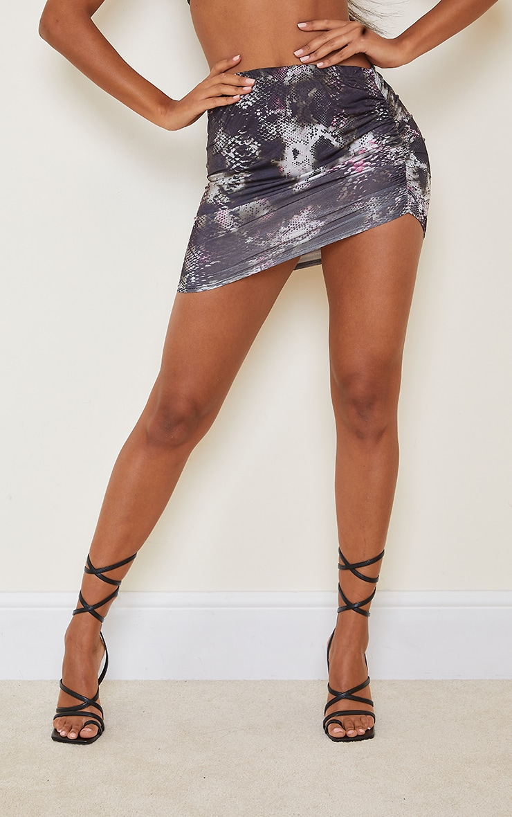 Black Print Slinky Ruched Side Mini Skirt 2