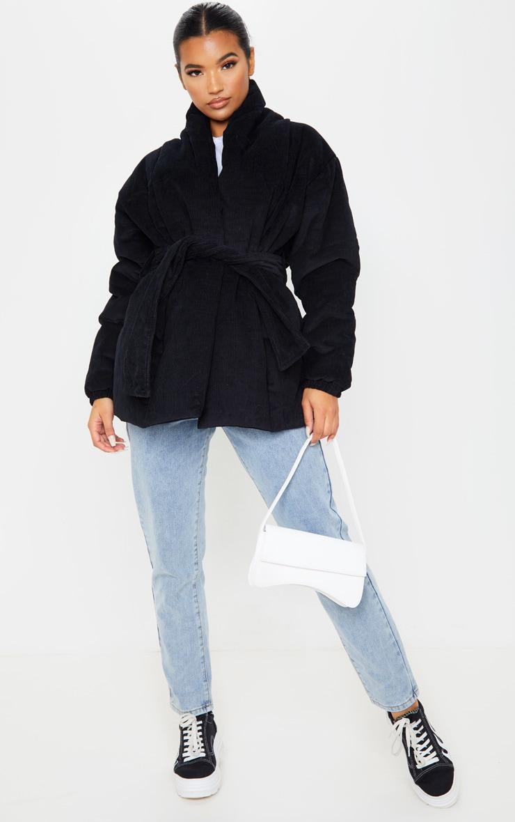Black Cord Collar Tie Waist Puffer Jacket 1