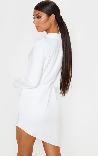 White Knot Detail Asymmetric Hem Shirt Dress
