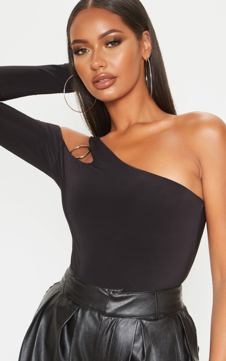 Black Slinky O-Ring One Shoulder Bodysuit 6