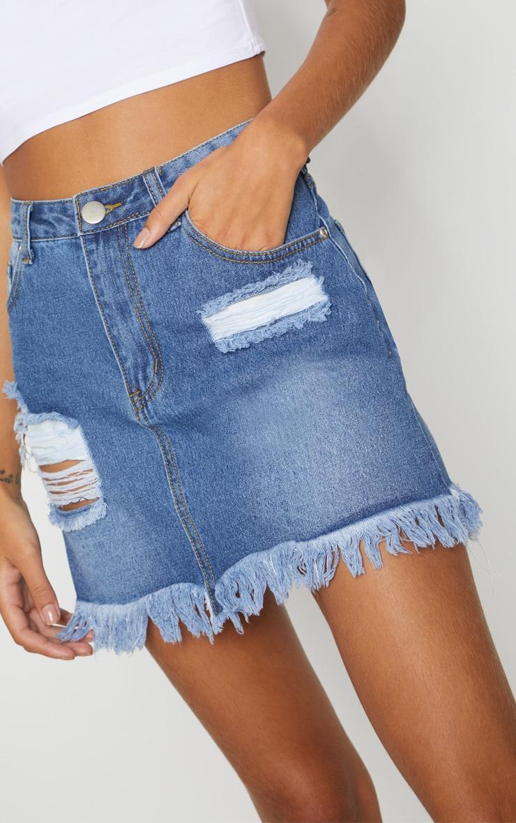 Mid Wash Denim Distressed Hem Midi Skirt 6
