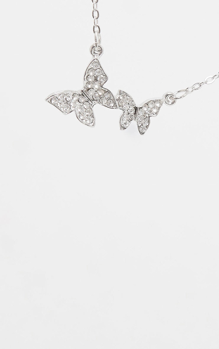 Silver Diamante Butterfly Drop Necklace 4