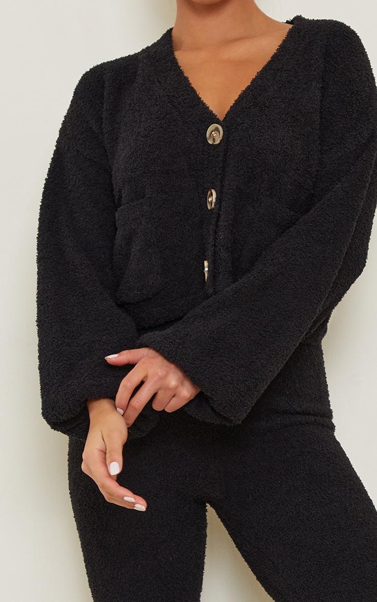 Petite Black Premium Fluffy Knit Wide Leg Set 4