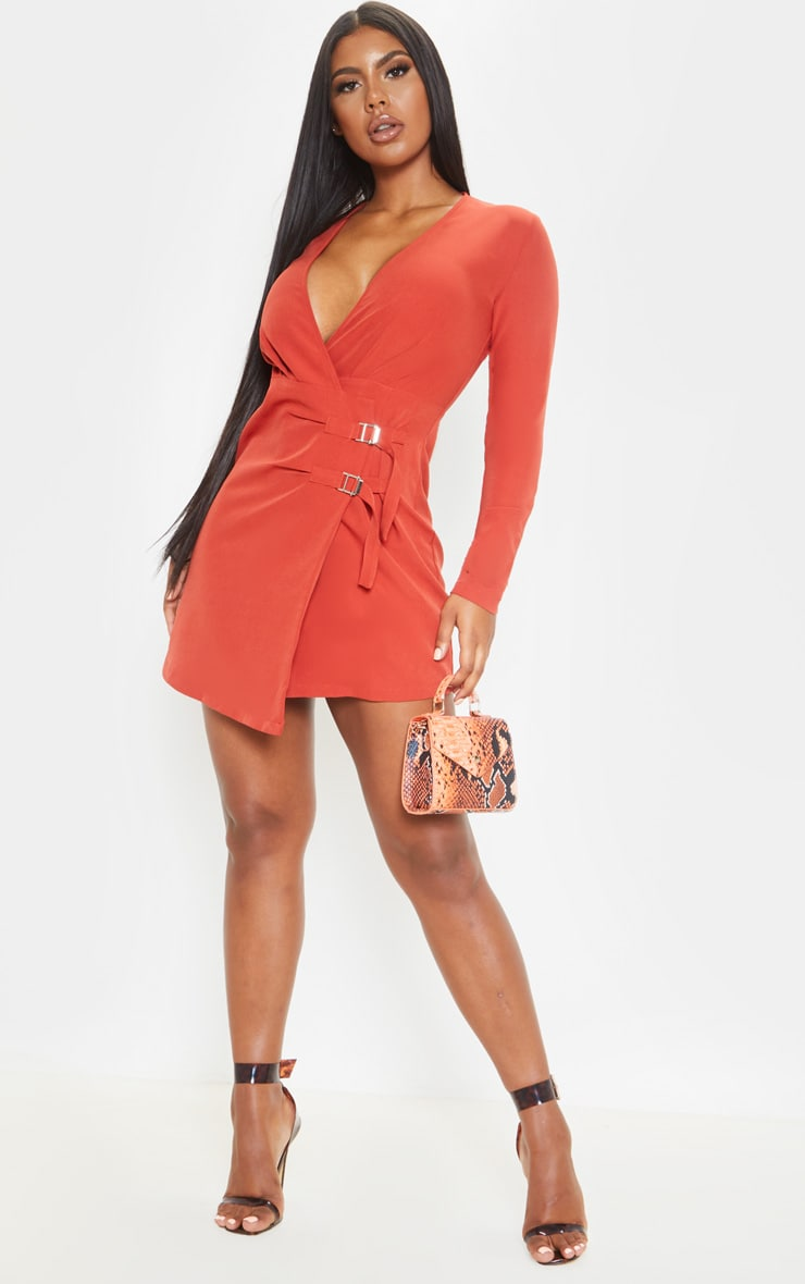 Rust Buckle Detail Wrap Bodycon Dress 4