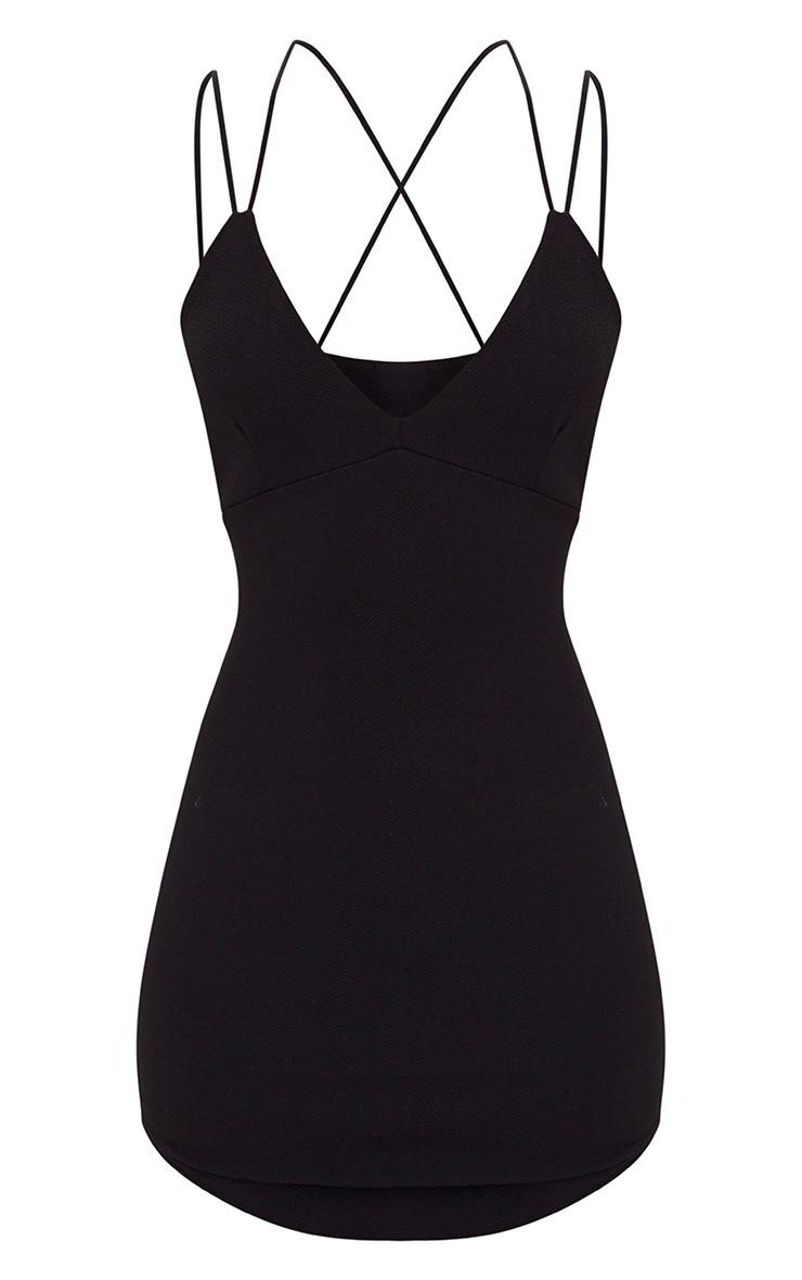 Black Double Strap Cross Back Plunge Bodycon Dress 3