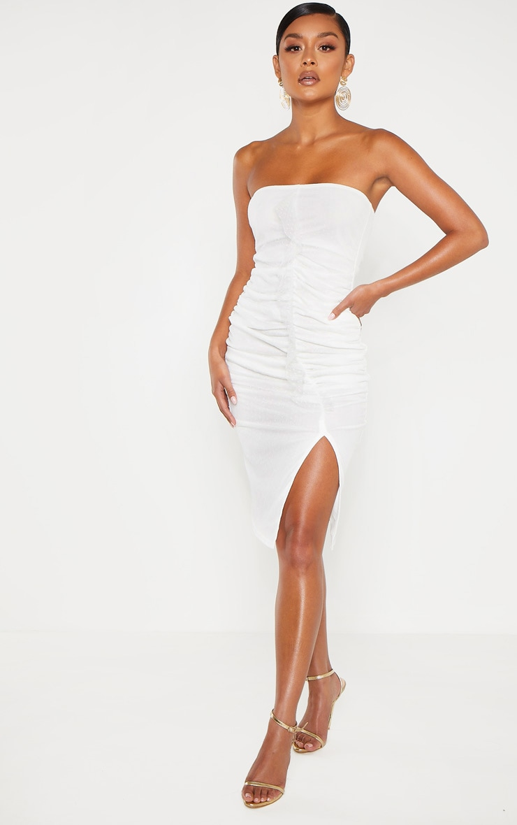 White Dobby Mesh Bandeau Ruched Midi Dress 4