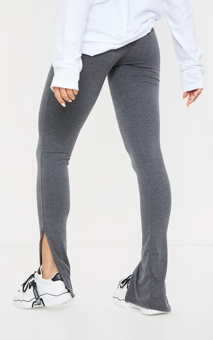 Basic Charcoal Jersey Split Hem Leggings 3