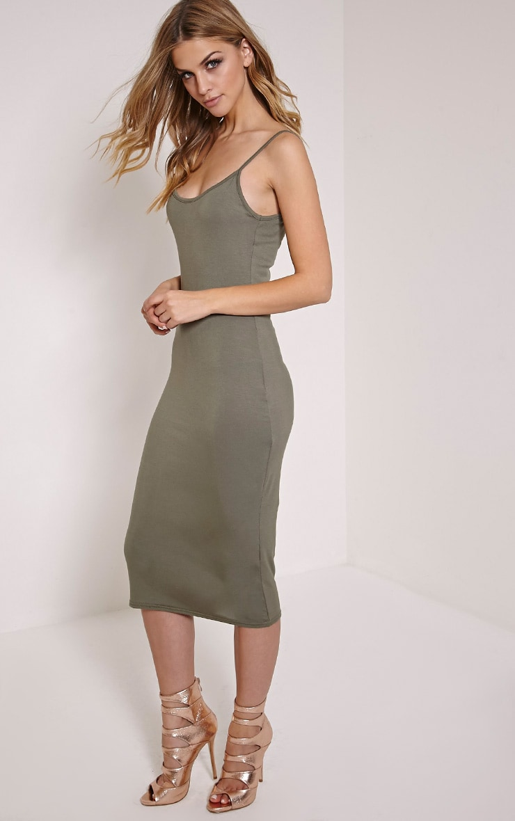 Basic Khaki Midi Vest Dress 3