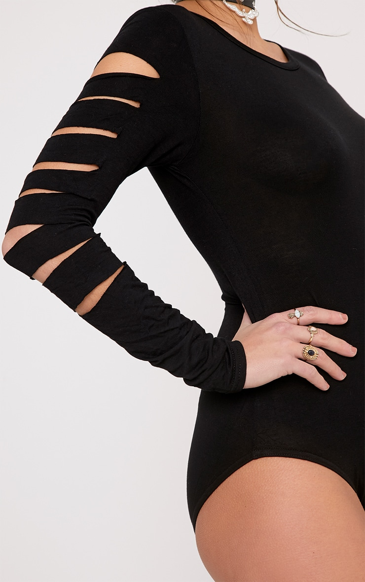 Keri Black Ripped Sleeve Jersey Bodysuit 6