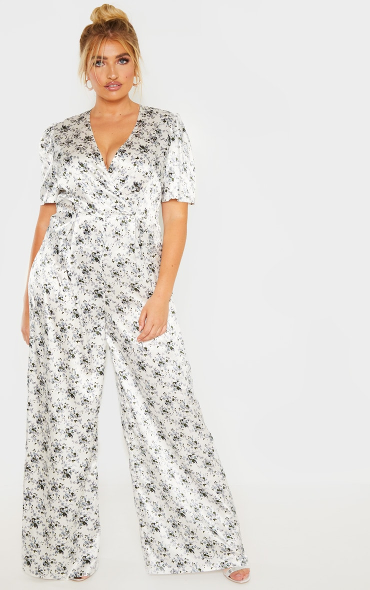 Plus White Floral Print Woven Wrap Wide Leg Jumpsuit  1