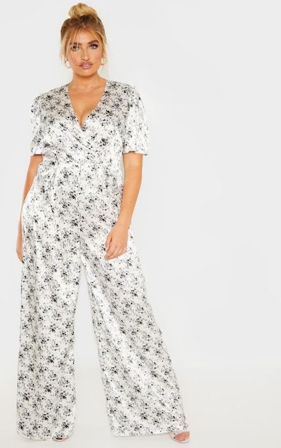 94a1e2b2df Plus White Floral Print Woven Wrap Wide Leg Jumpsuit PrettyLittleThing  Sticker