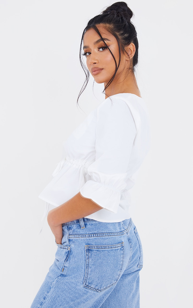Petite White Ruched Middle Blouse 2