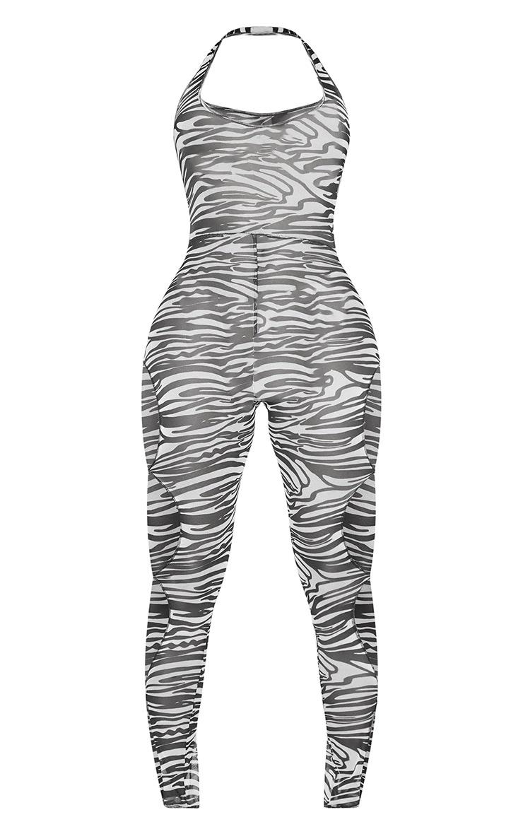 Shape White Zebra Print Sheer Mesh Halterneck Ring Cut Out Jumpsuit 5
