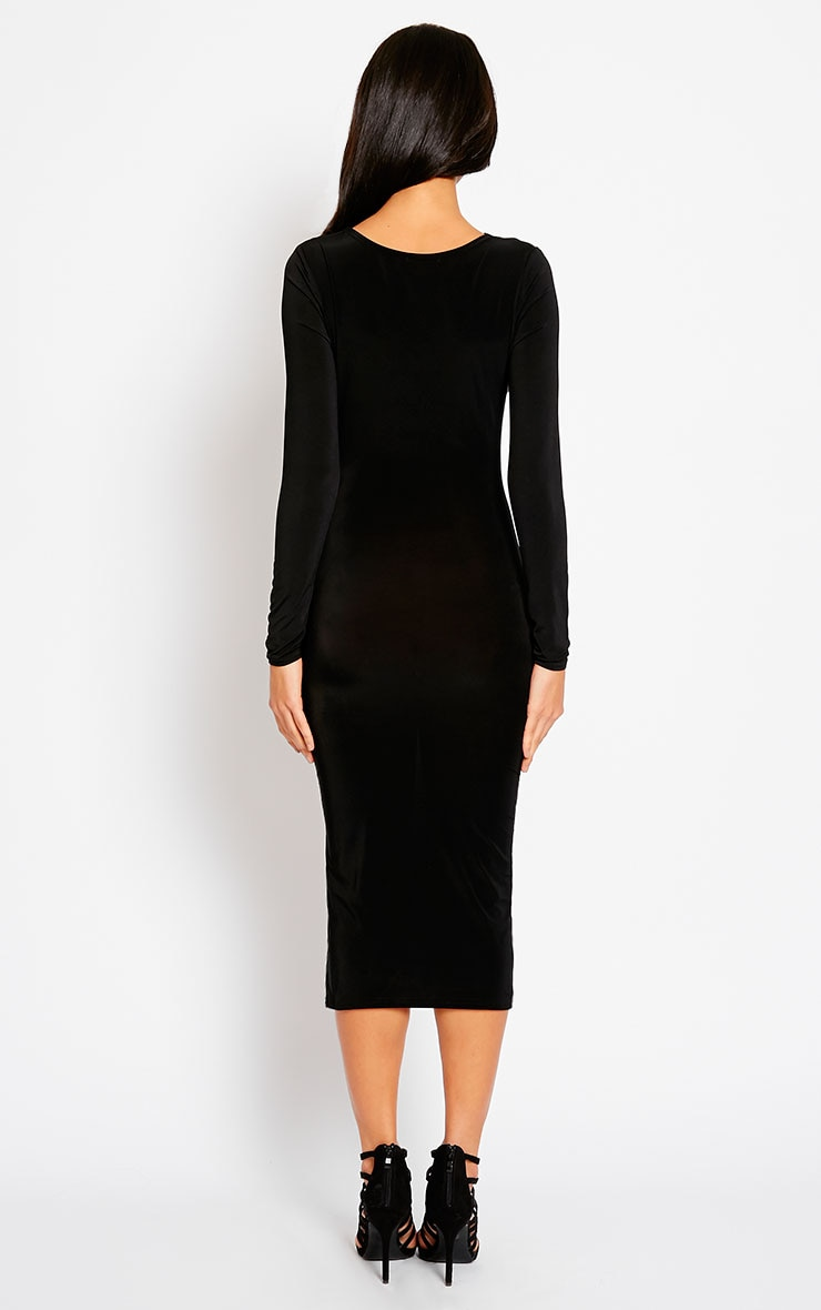 Ziva Black Slinky Cowl Neck Midi Dress 2