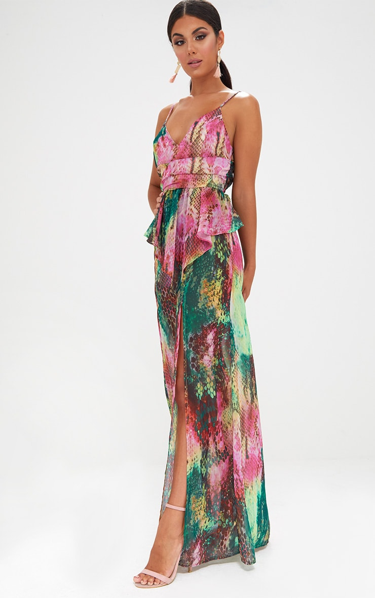 Pink Strappy Frill Detail Snake Print Maxi Dress 4