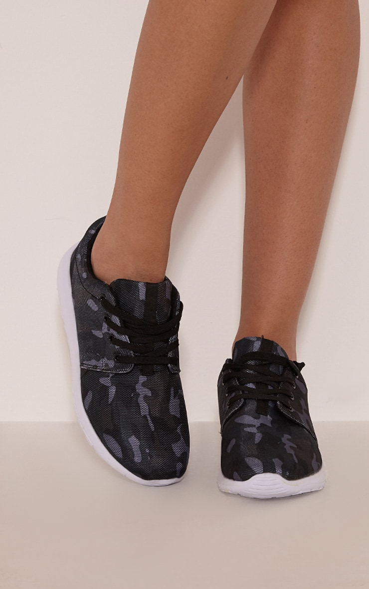 Keegan Black Camouflage Trainers 1