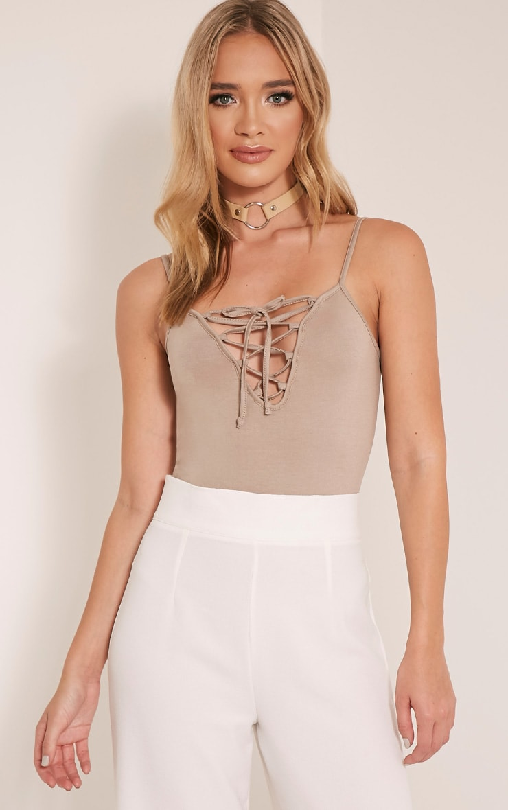 Kloe Taupe Lace Up Jersey Thong Bodysuit 1