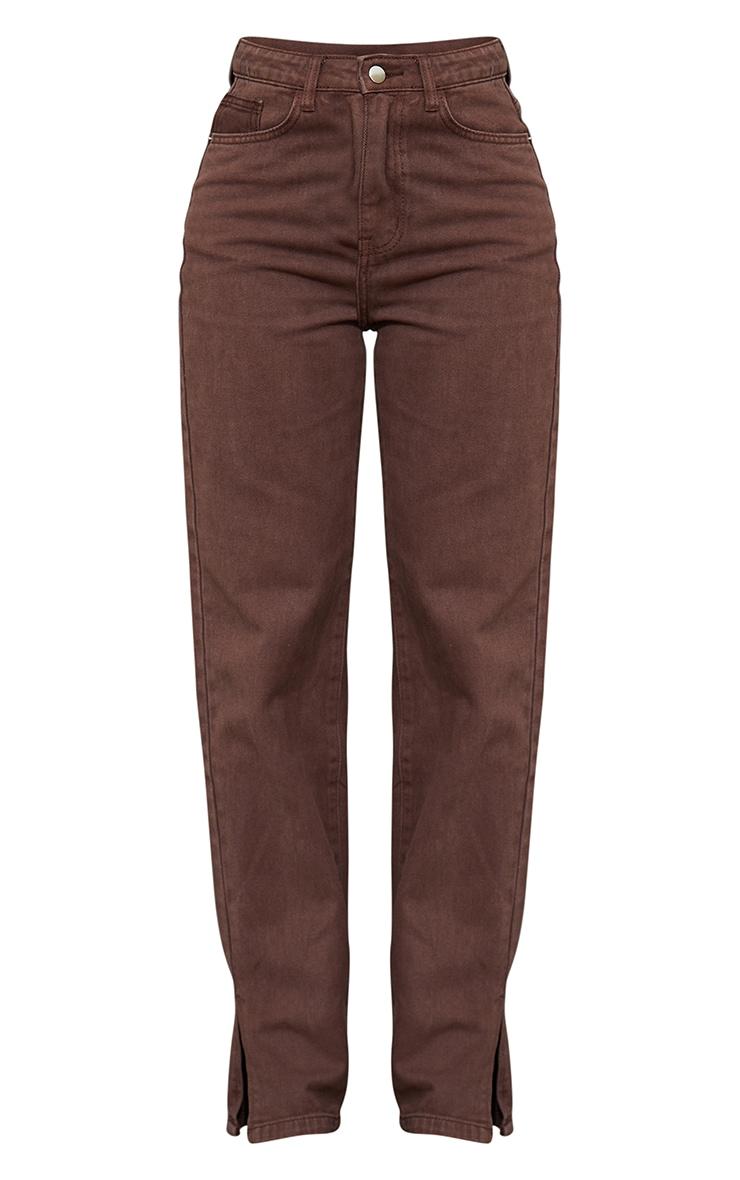 Brown Split Hem Straight Leg Jeans 5