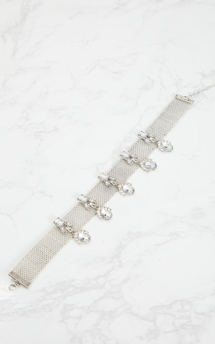 Silver Thin Diamante Drop Choker 3