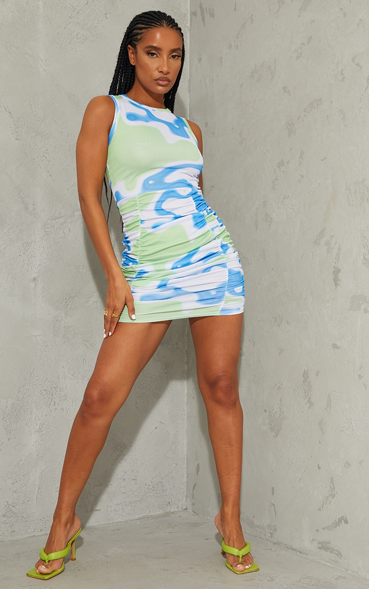 Green Abstract Ribbed Ruched Sleeveless Bodycon Dress 3